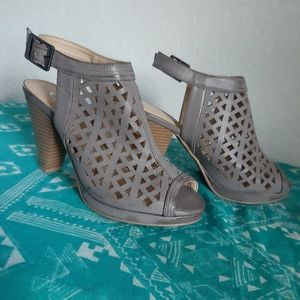 Grey Peep Toe Sandals Ankle Strap